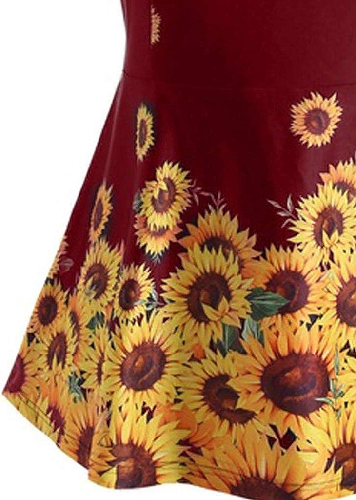 XUEJIN New Womens Tribal Printed Tankini Swimdress Sunflower Printed One Pieice Swimsuits Bathing Suit