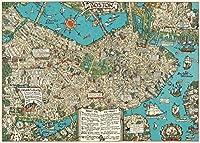 *カバリーニ ラッピングペーパー Boston Map