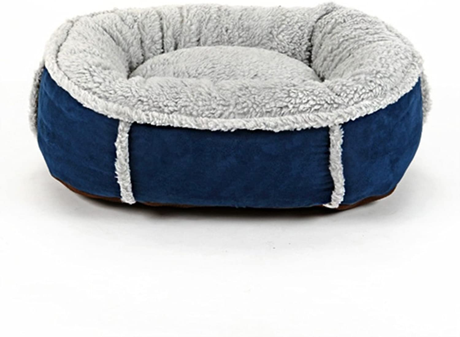 Pet bed Can be washed Four Seasons Universal Lamb Flush PP Filled Round Cave (color   bluee, Size   60cm)