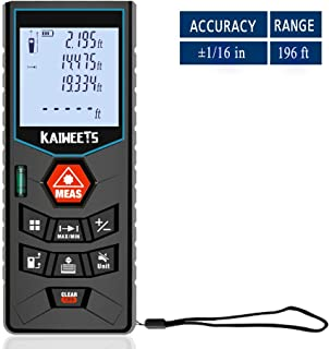 Laser Measure, 196ft M/In/Ft Laser Distance Measure with Mute function, Backlit LCD, for Pythagorean, Distance, Area and Volume Measuring, Carry case and Hand strap included - Kaiweets C60