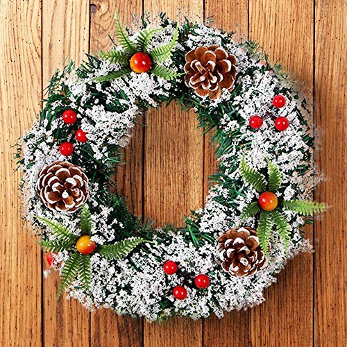 HINK Wall Hanging Christmas Wreath Decoration For Xmas Party Door Garland Ornament, Xmas Pine Cone Garland 20cm Garland, As Shown