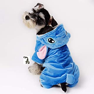 Cute Plush Cartoon Pet Costume Pajama Coat with Dog House Charm - Choice of Character - Dog Sizes XS Thru XL