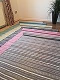 Algodón alfombra Kilim en luz color gris y blanco rayas geométricas mano tejidas Indian 150cm x 240cm
