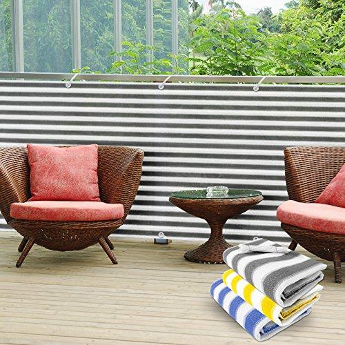 casa pura Pantalla de privacidad del balcón - Cortavientos | Pantalla de jardín para protección contra Rayos UV, Sol y Viento | Pantalla de PVC para Exteriores | Gris/Blanco - 90x500cm