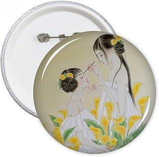 DIYthinker Beauté avec fleur Pins aquarelle ronde chinoise Badge Bouton Décoration Vêtements 5pcs cadeaux Multicolore S