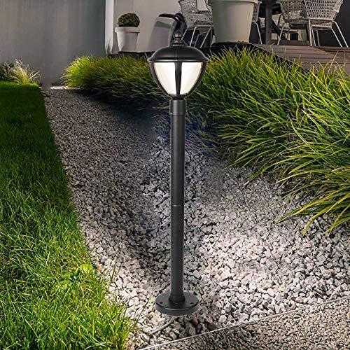 CGC Poste LED negro Linterna Luz exterior 3000K Blanco cálido IP44 Ideal para jardín Patio Entrada Camino Bolardo de poste