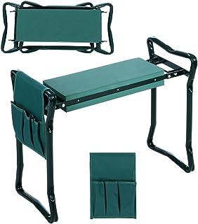 JQstar Folding Garden Kneeler and Seat with Bonus Tool Pouch, Portable Portable Garden Stool with EVA Kneeling Pad Handles (Green)