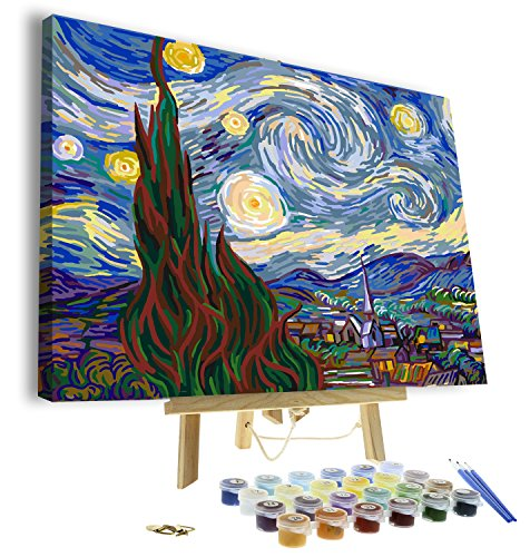 """Paint by Numbers for Adults - Framed Canvas and Wooden Easel Stand - DIY Full Set of Assorted Color Oil Painting Kit and Brush Accessories - Soul Dancer 12""""x16' Replica (Starry Night)"""