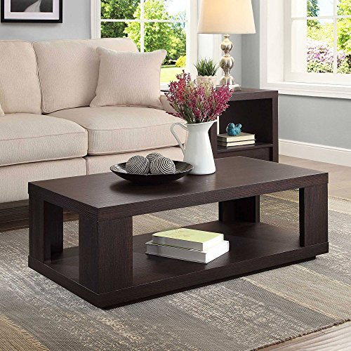Contemporary Design Steele Rectangle Coffee Table for Living Room Made of Wood in Espresso Finish 40'W x 20'D x 14'H in.