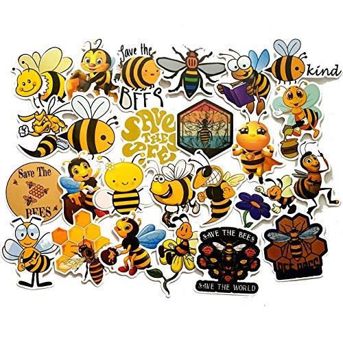 Ligoi 50pcs Cute Cartoon Funny Bee Graffiti Stickers Suitcase Skateboard Notebook Electric Car Waterproof Car Stickers