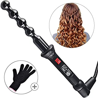 Bubble Curling Wand Professional Curling Iron Tourmaline Ceramic Barrel Beach Wave Curlers Hair Roller Styling Hot Tools for Salon Studio Home Use Travel, Heat Up Fast, with Glove Black BULETOP