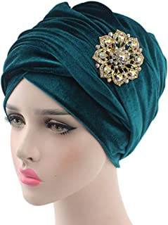 Fashian Lady Crystal Velvet Muslim Turban Pleated Head Wrap Scarf Long Tail Hat Pre Tied Headwear Cancer Chemo Cap WJ-18 (Color : 8, Size : One Size)