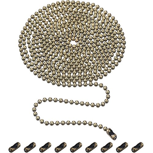 Shappy 3,2 mm Durchmesser Perlenkette Verlängerung mit Stecker, 10 Fuß Perlen Rollenkette mit 10 Passenden Anschlüssen (Bronze B)
