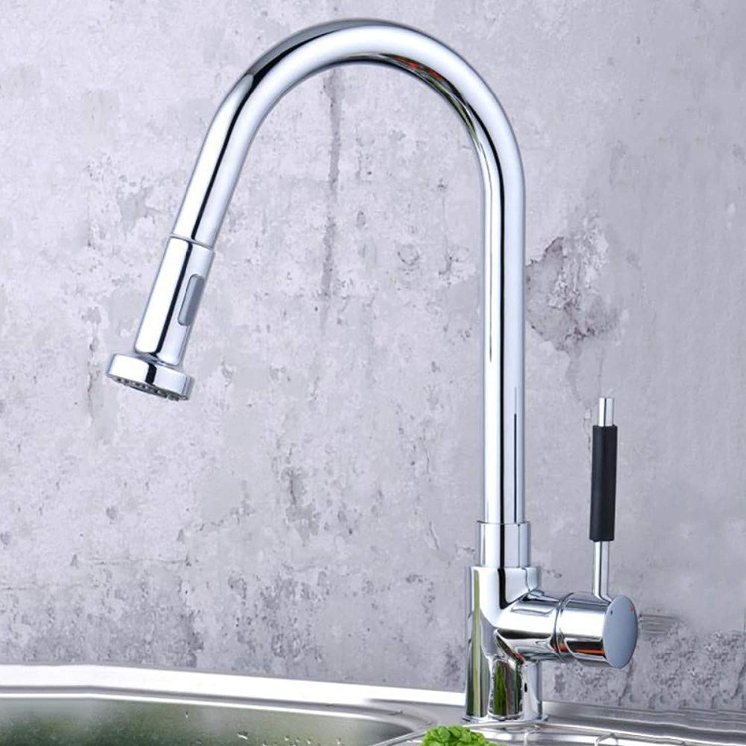 Brushed redating Kitchen Faucet Pull-Out Chrome-Plated Dish Faucet Kitchen Single-Connected Water Dragon
