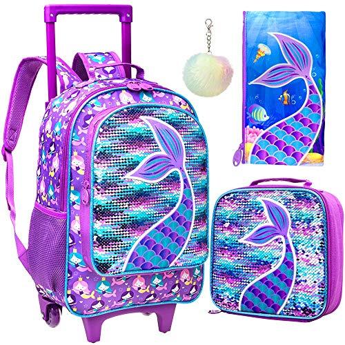 4PCS Rolling Backpack for Girls, Wheeled Kids Mermaid Bookbag