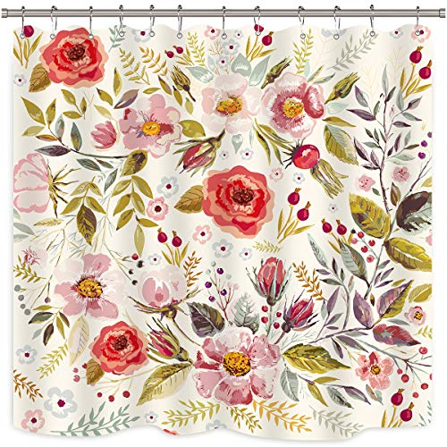"""Riyidecor Pink Floral Shower Curtain Spring Rustic Rose Blossom Flower Girls Peony 12 Pack Metal Hooks Polyester Waterproof Fabric 72"""" W x 72"""" H"""