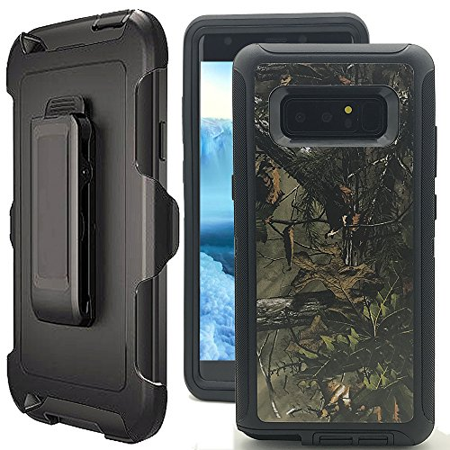 Galaxy Note 8 Camo Case,Note 8 Case with Kickstand,Kudex Belt Clip Tough Armor Defender Serise Shockproof Design Swivel Holster Protection Case Cover Without Built-in Screen Protector (Black Forest)