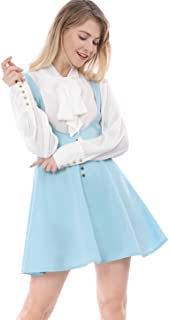 Women's Cute Button Decor Overalls Pinafore Dress Suspenders Skirt