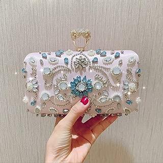 NSHUN Evening Clutch Bags Beads Clutch Pink Women Crystal Rhinestone Bag Formal Dress Handbags Rhinestone Purse, for Wedding Party