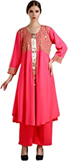 MEVE Readymade Peach Flared Kurta for Women