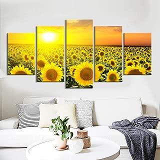 No hay cuadros de pared para la sala de estar 5 piezas Arte de pintura al óleo con girasol Moderno Pinturas impresas Cuadro de arte de pared 40x60x2 40x80x2 40x100cm