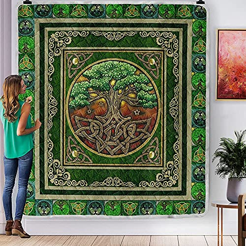 PITTI St Patrick's Day Irish Celtic Tree Green Quilt Mothers Fathers Day Quilt Sets for Kids Son Daughter from Mom Mommy Mother Dad Daddy Grandma Aunt
