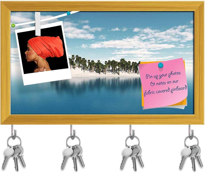 Artzfolio Tropical Palm Tree Island Key Holder Hooks   Notice Pin Board   golden Frame 17 X 10Inch