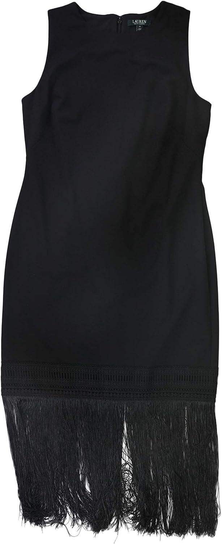 Ralph Lauren Womens Fringe Trim Cocktail Dress, Black, 14