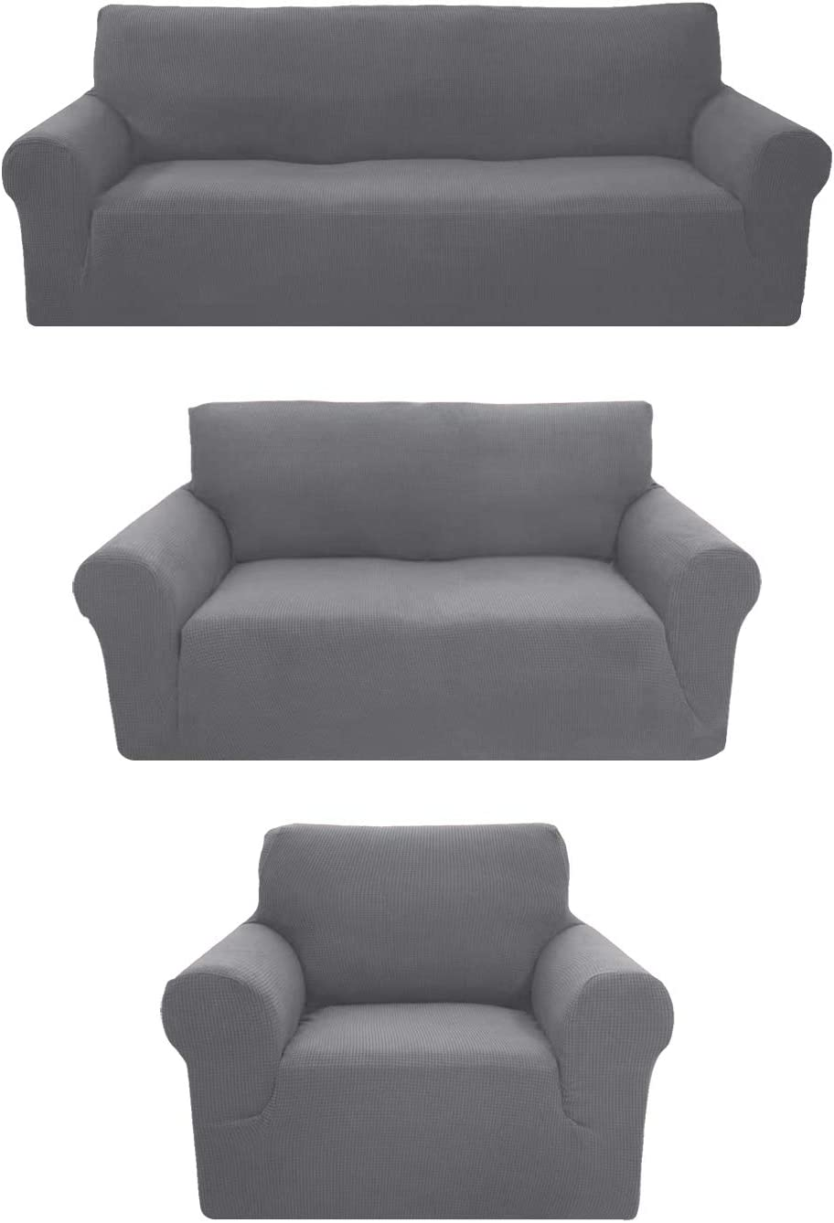 Sapphire Home 3-Piece Brushed Premium SlipCover Set for Sofa Loveseat Couch Arm Chair,Form fit Stretch,Wrinkle Free,Furniture Protector set for 3/2/1 Cushion,Polyester Spandex,3pc, Brushed, Light Gray