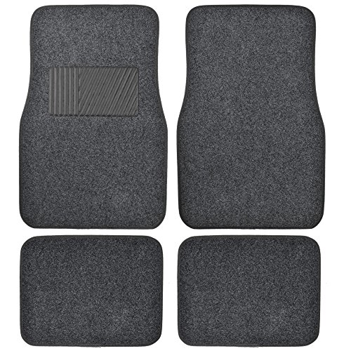BDK Gray Heavy Duty Front & Rear Carpet Floor Mats Universal Liners for Car SUV Van & Truck, All Weather Protection with Anti-Slip Nibs, Fit Contours of Most Vehicles