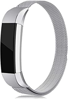LNOOIU Bands Compatible with Fitbit Alta, Replacement for Alta HR Stainless Steel Bands Adjustable Accessory Wristband for Alta Bracelet Women Men Girls Boys (Silver Large)