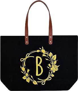 ElegantPark B Initial Monogram Personalized Party Gift Tote Black Large Shoulder Bag with Interior Zip Pocket Canvas
