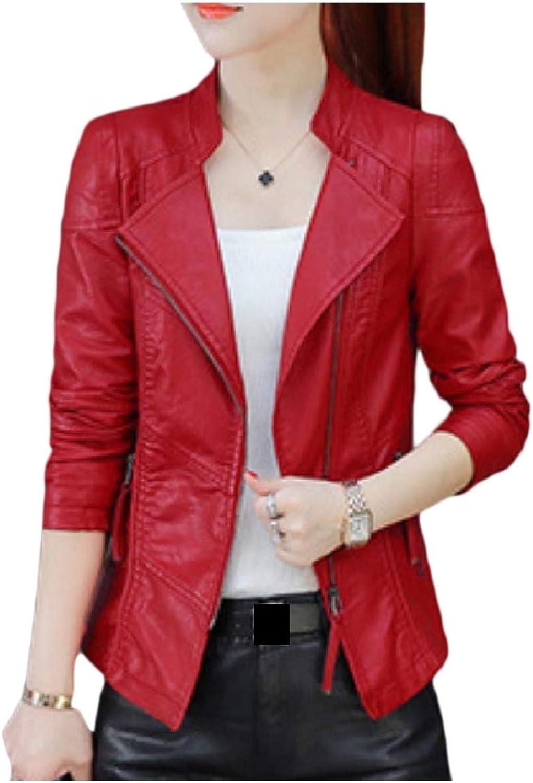 Baseby Women TurnDown Collar Short Zipper Jacket Fashion Punk Rock Coats