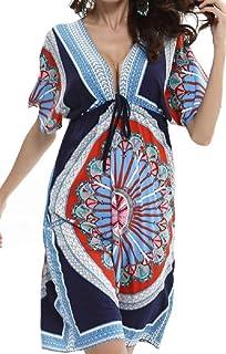 Vestido de Playa Mujer Suelto Pareos Playa V-Cuello Camisolas y Pareos Bikini Traje de Baño Cover up Tunica Talla Grande