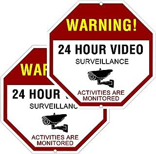 ATBAY Video Surveillance Sign Aluminum Waterproof Indoor Outdoor 24 Hours Security Alert Signs 12