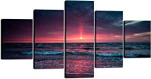 Yatsen Bridge 5 Piece Wall Art for Living Room Red Aurora Appears in The Ocean Seaview Sunset Painting Modern Seascape Pictures Home Wall Decor Prints and Posters Stretched and Framed - 60''W x 32''H