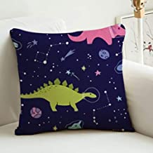 Linen Fabric Decorative Throw Pillow Cover Case with Invisible Zipper for Sofa Bench Space Dino Fabric Space Dinosaurs 16inch 16inch