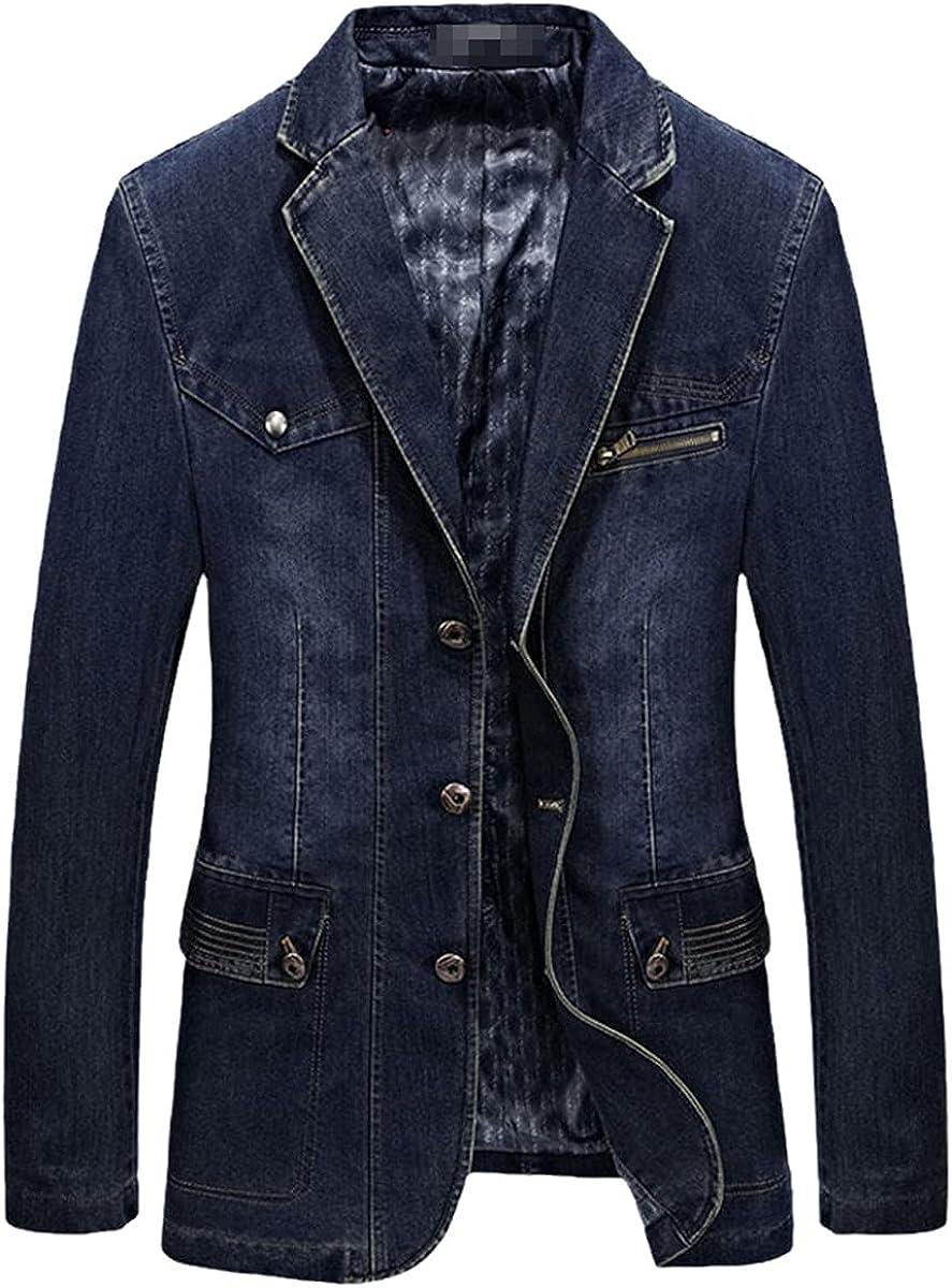 DFLYHLH Men's Denim Suit Jacket Men's Jacket Jacket Fall Spring Slim Fat Cotton Casual Suit Jacket