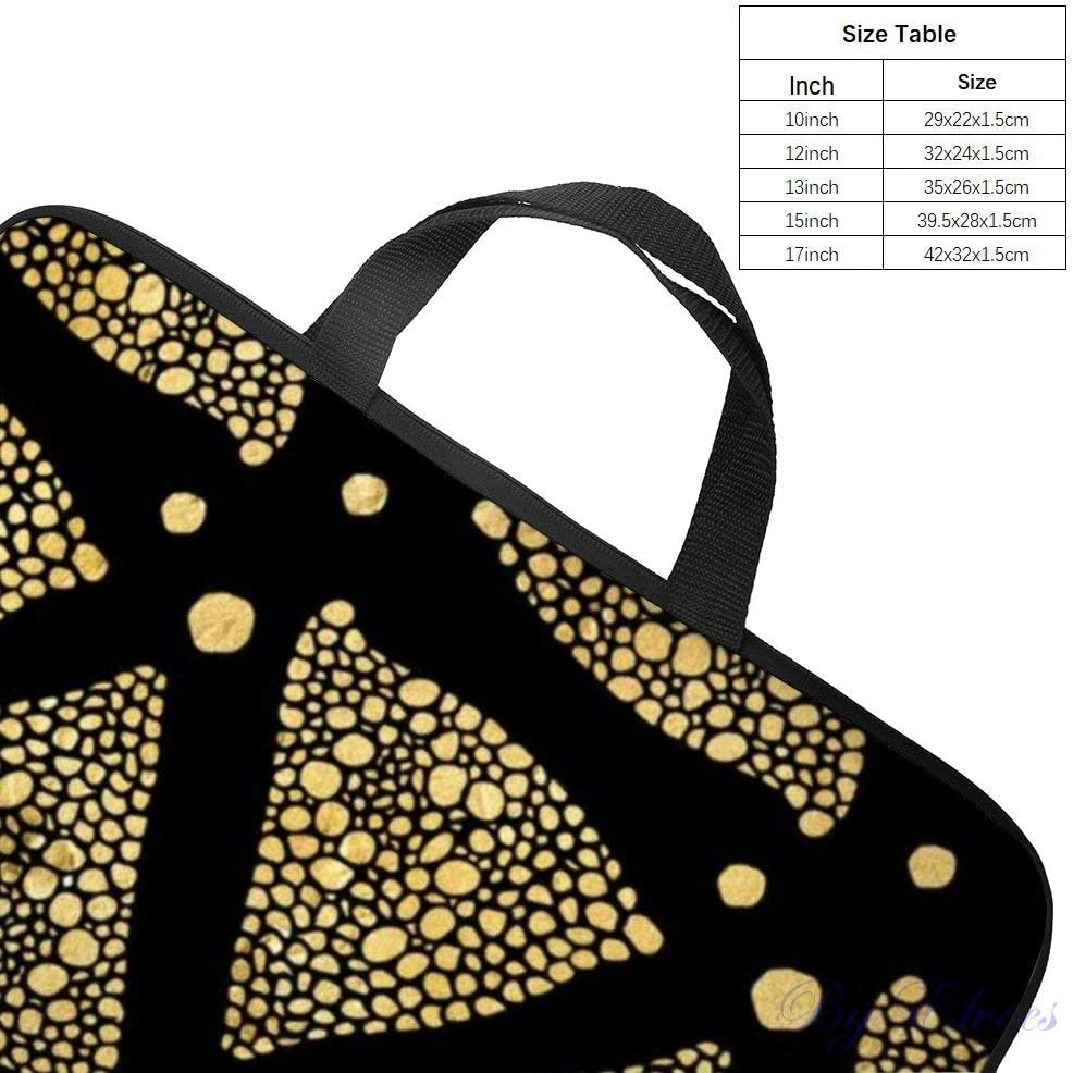 Laptop Sleeve 17 inch with Handle Water Repellent Neoprene Bag Black White Octagonal Pattern Tropical Flowers Protective Case Cover Compatible with MacBook Pro//Asus//Dell//HP//Sony//Acer