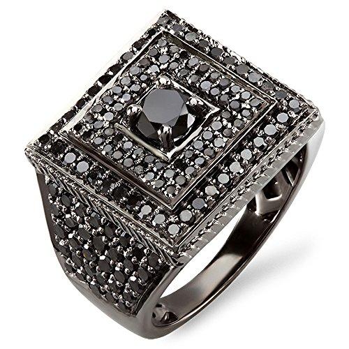 Anillo para hombre, oro blanco de 10 ct., 2,80quilates de peso total, diamante de corte redondo, bañado en rodio, color negro