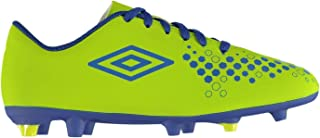 Official Brand Umbro Accure Firm Ground Football Boots Juniors Lime/Royal Soccer Cleats Shoes