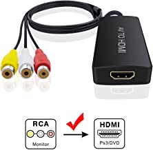 AV to HDMI Adapter, RCA to HDMI Adapter Converter Dingsun 3RCA CVBS AV Composite to HDMI Converter Adapter Supports PAL/NTSC, 1080P for VHS, VCR, Old DVD Players