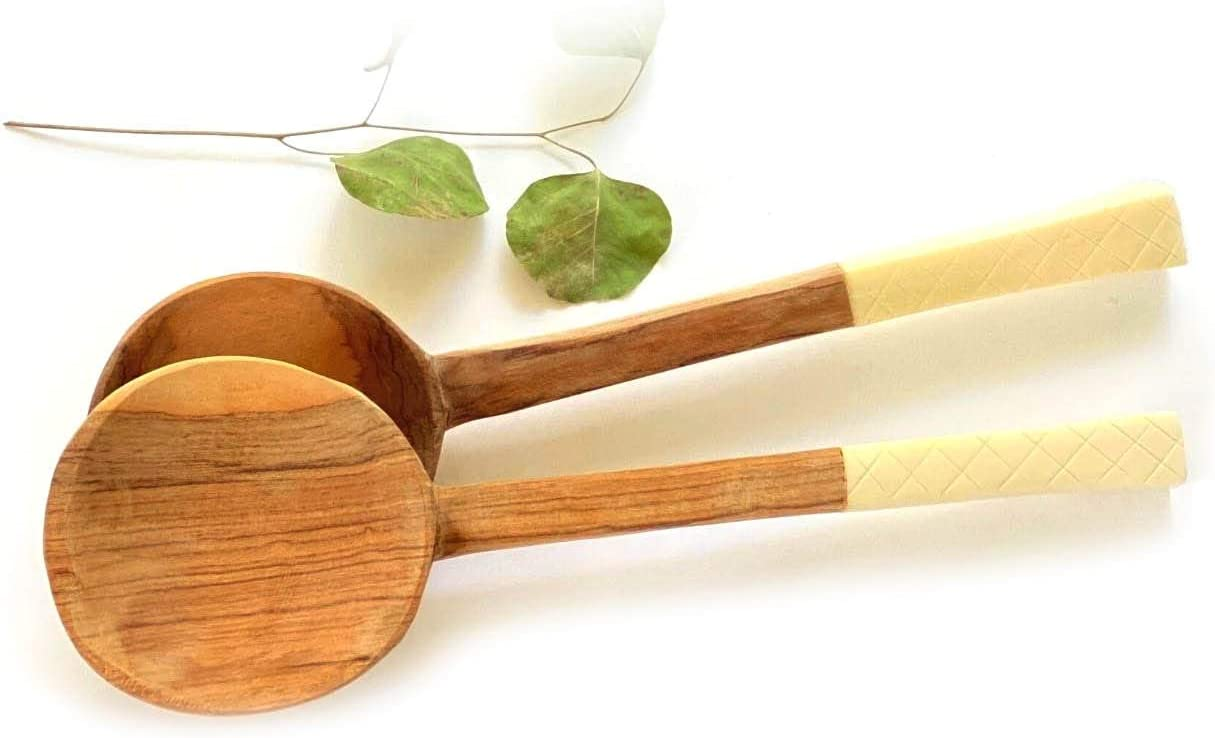 Global Crafts Hand-Carved Olive Wood Limited time sale Han with Bone Wholesale Salad Servers