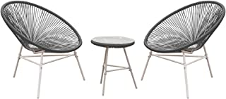 PatioPost 3 Piece Outdoor Acapulco Sun Weave Lounge Patio Chair with Top Glass Table, Grey