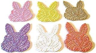 Set 6 posavasos de colores en forma de conejo de ganchillo - Tamaño: 11 cm x 13 cm H - Handmade - ITALY