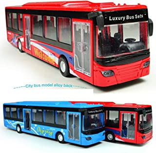 Unionup Tech 2Pcs/Set Children Toy Diecast Cars Bus Model Sound Light Boys Classic Toys Vehicle Collection Gifts 1:50 Scale