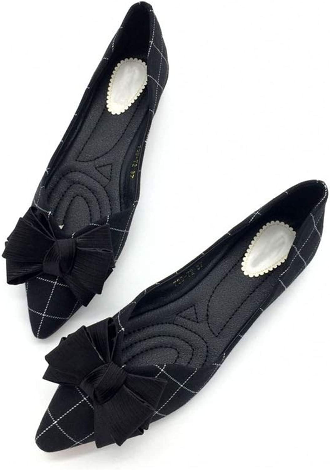 Pretty-sexy-toys Women's Ballet Flat-Soled shoes Lattice Flat-Soled shoes Butterfly-Knotted Single shoes