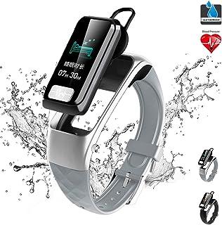 Bluetoothイヤホン付きスマートブレスレット、防水フィットネストラッカー、心拍数モニター、血圧モニタリングECG PPG、防塵多機能Bluetoothヘッドセットウォッチ、メンズ、レディース