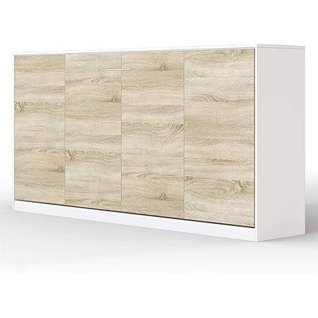 SMARTBett Basic Armoire Lit escamotable Lit Rabattable Lit Mural (Blanc/Chęne Sonoma, 90 Horizontal)