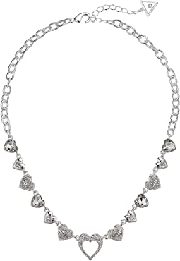Repeating Hearts Link Necklace with Crystal Pave